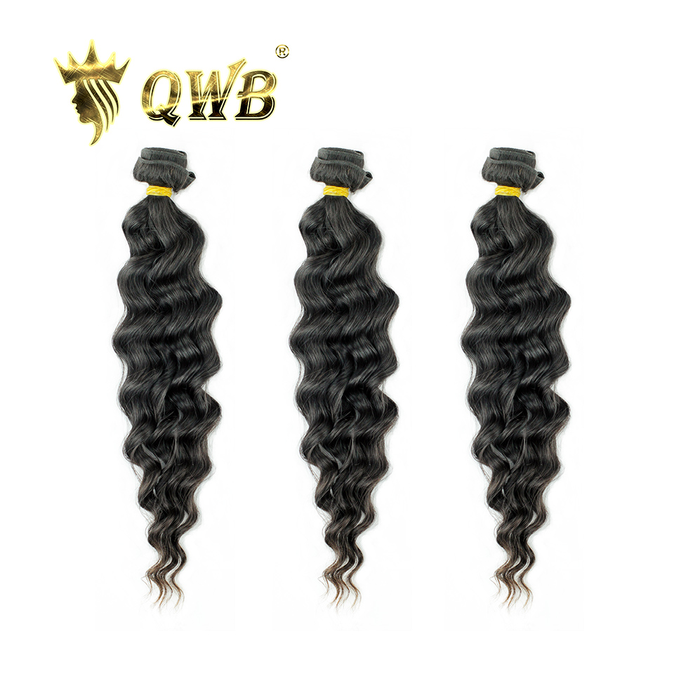 QUEEN WEAVE BEAUTY QWB Free Shipping Loose Weave 3Bundle/Lots 12''~28'' Brazilian Virgin Nature Color 100% Human Hair Extension(China)
