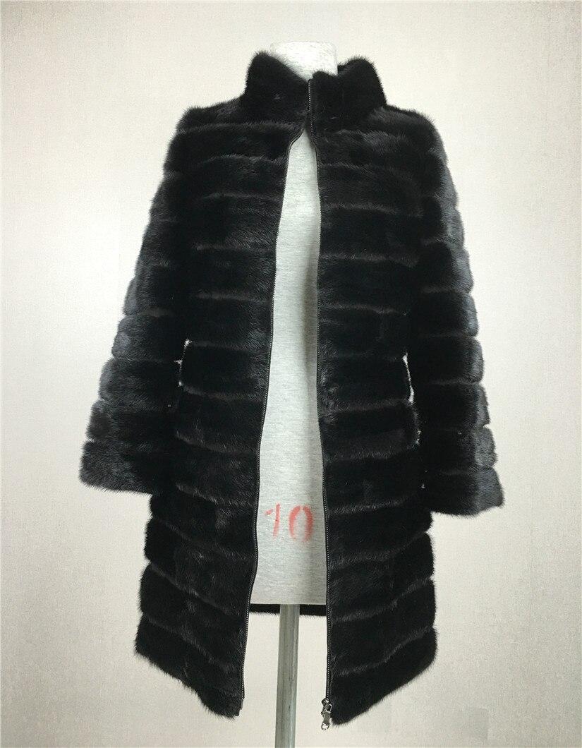 LIYAFUR Real Nerz Pelzmantel für Frauen Natürliche Echte Russische - Damenbekleidung - Foto 2