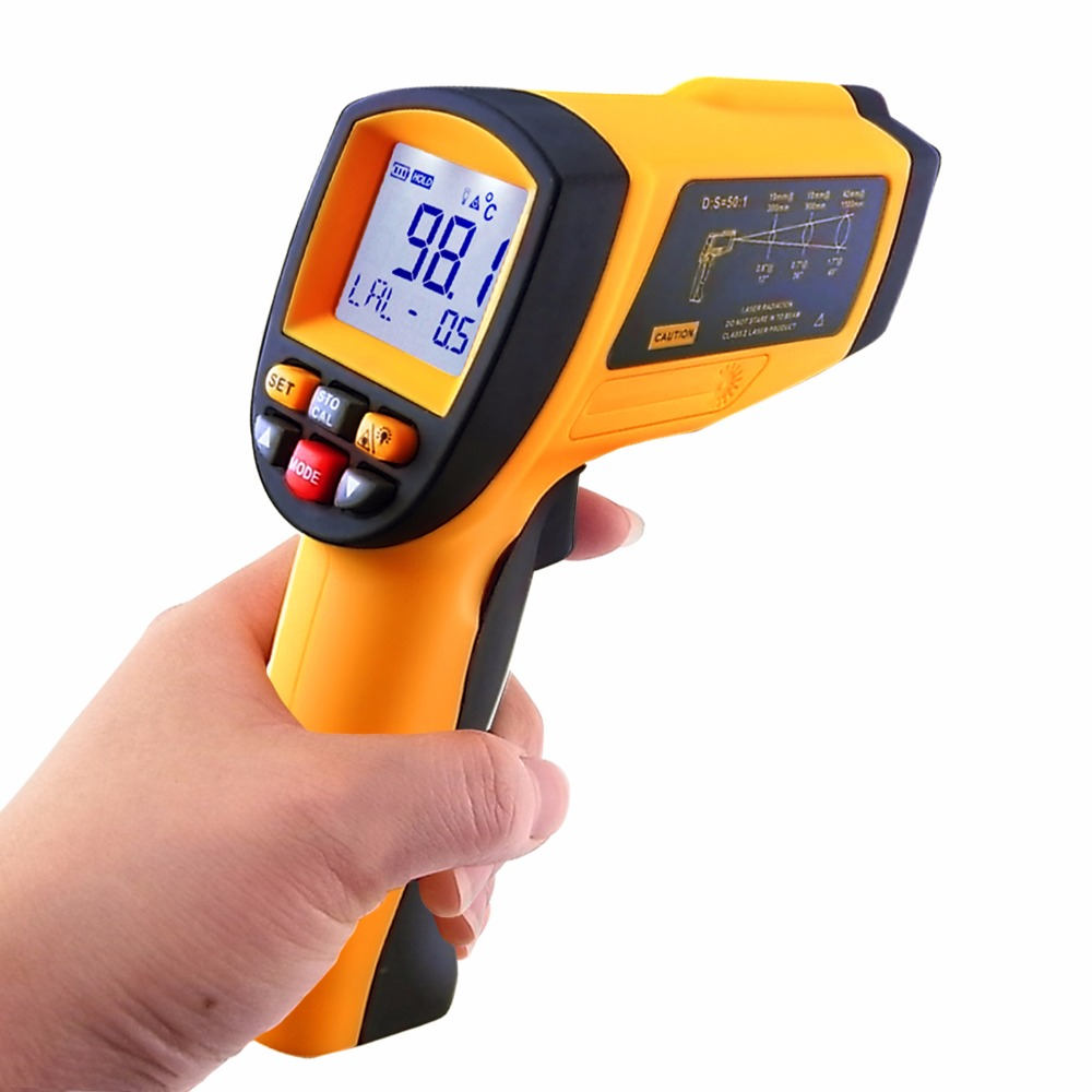 50:1 Digital IR Non-Contact Laser Thermometer 0.1~1 EM Pyrometer Industrial Tool Temperature Tester holdpeak hp 1320 digital laser infrared ir thermometer gun meter non contact 50 1500c temperature tester pyrometer
