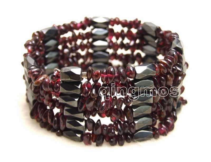 6-8mm Brown Baroque Natural Garnet and Black Hematite Magnetic 37'' Necklace/Bracelet-bra365 Wholesale/retail Free shipping