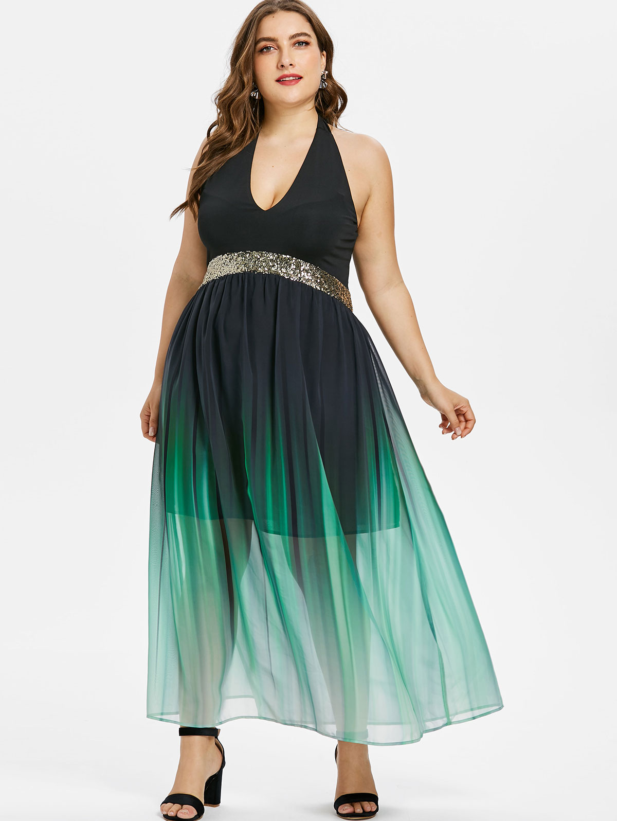 US $20.49 52% OFF|Wipalo Plus Size Halter Neck Women Open Back Sequined  Trim Ombre Maxi Dress Sleeveless A Line Dress Party Sundresses Vestidos-in  ...