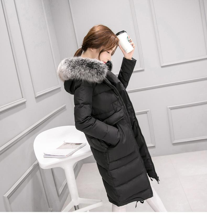 2017 new Woman  jacket in the long section of large wool collar large yards over knee self-cultivation was thin winter sky blue cloud removable hat in the long section of cotton clothing 2017 winter new woman