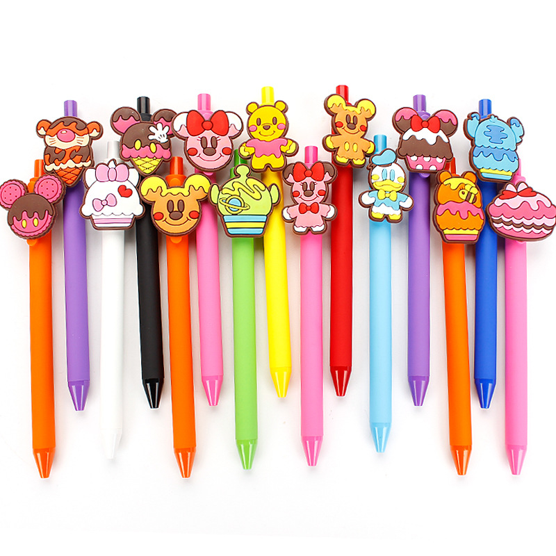 40pcs lot creative cartoon food cake animal quality frosted barrel black ink gel pen candy color
