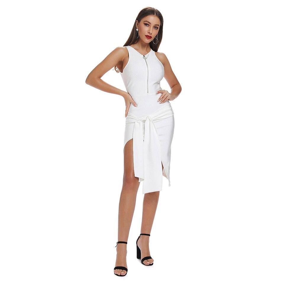 Sans manches fermeture éclair avant Peplum solide blanc rouge asymétrique moulante Robe femmes côté fendue soirée Sexy Robe Femme Vestidos