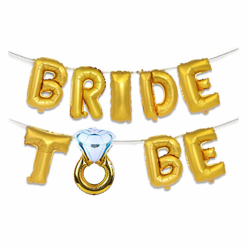 16inch Rose Gold Team Bride To Be Letter Foil Balloons Wedding Decoration Baloon Mr Mrs Banner Champagne Ballon Party Supplies