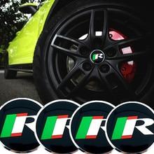 CDIY 4pcs/sets 56.5mm R Racing logo Stickers Auto Car Wheel