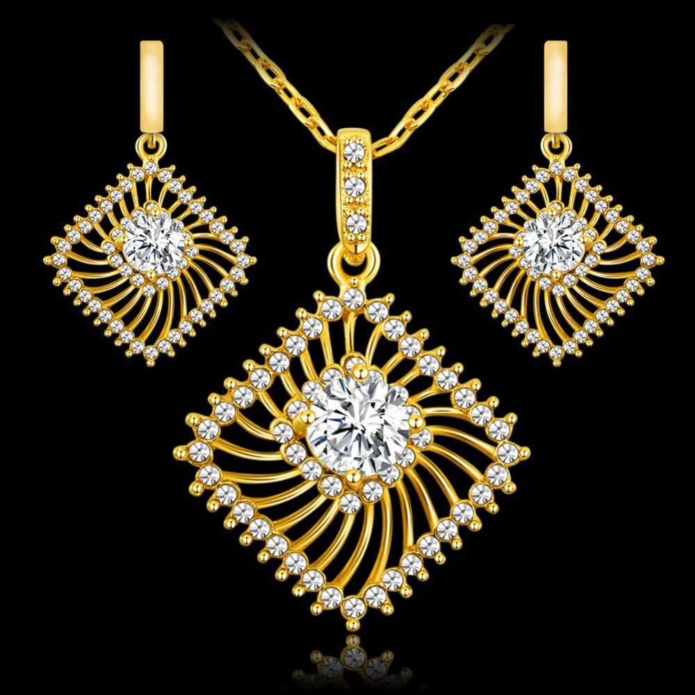 אפריקאי סטי נשים קריסטל הולו מתוך צבע זהב לבן אופנה בנות כלה שרשרת ועגילי תכשיטי סט