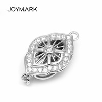 JOYMARK Fine Jewelry Accessories Zircon Pave Sterling Silver Box Clasps Hooks Connectors Findings For Pearl Jewellery SC BC224