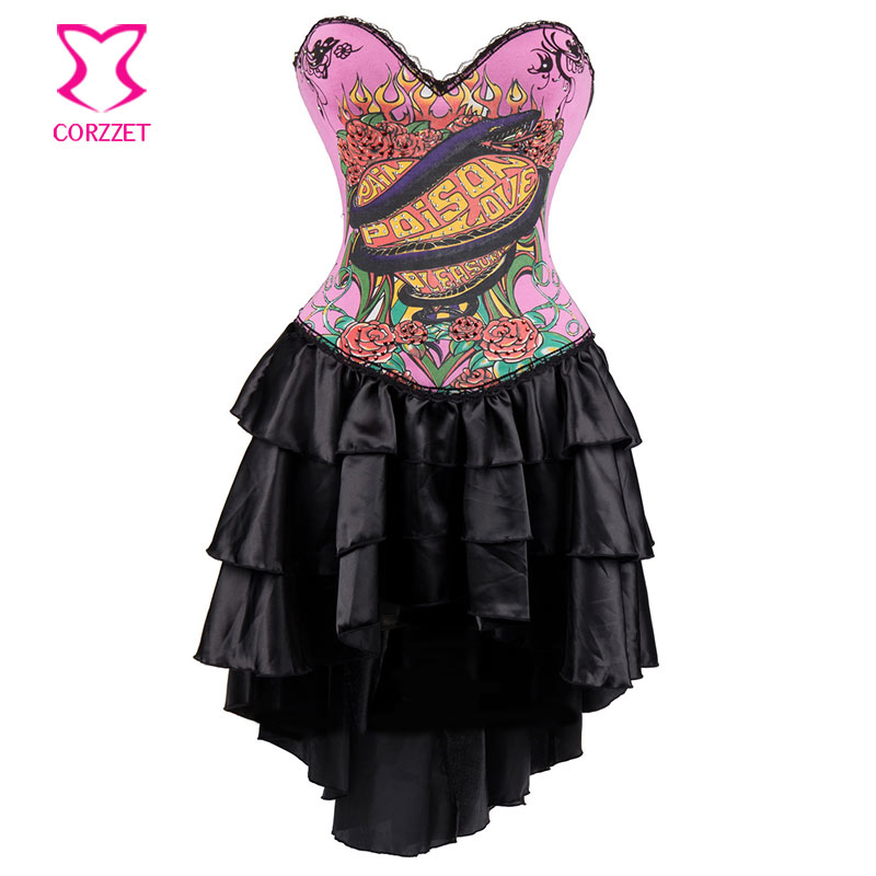 Pink Snake Animal &Floral Print Vintage   Corsets   And   Bustiers   Steampunk   Corset   Sexy Gothic Clothing Dresses Women Burlesque Dress
