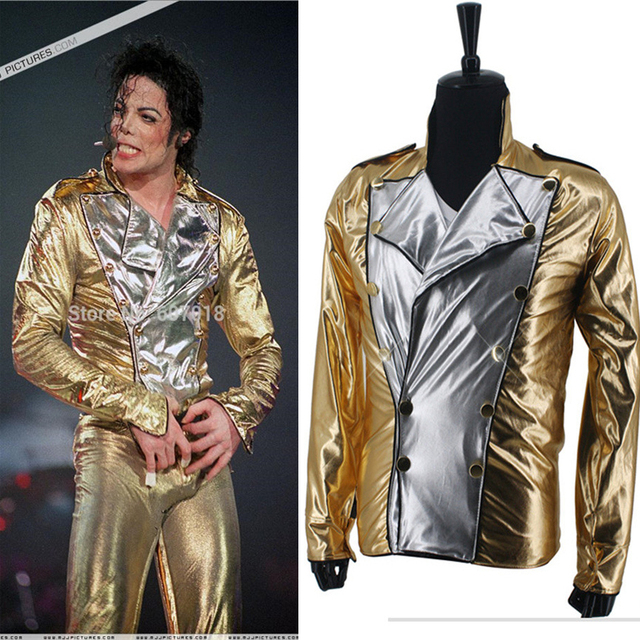 MJ Michael Jackson History BAD Spandex de Ouro clássico Double Breasted Jaqueta de Tecido Desempenho Halloween Costume Presente