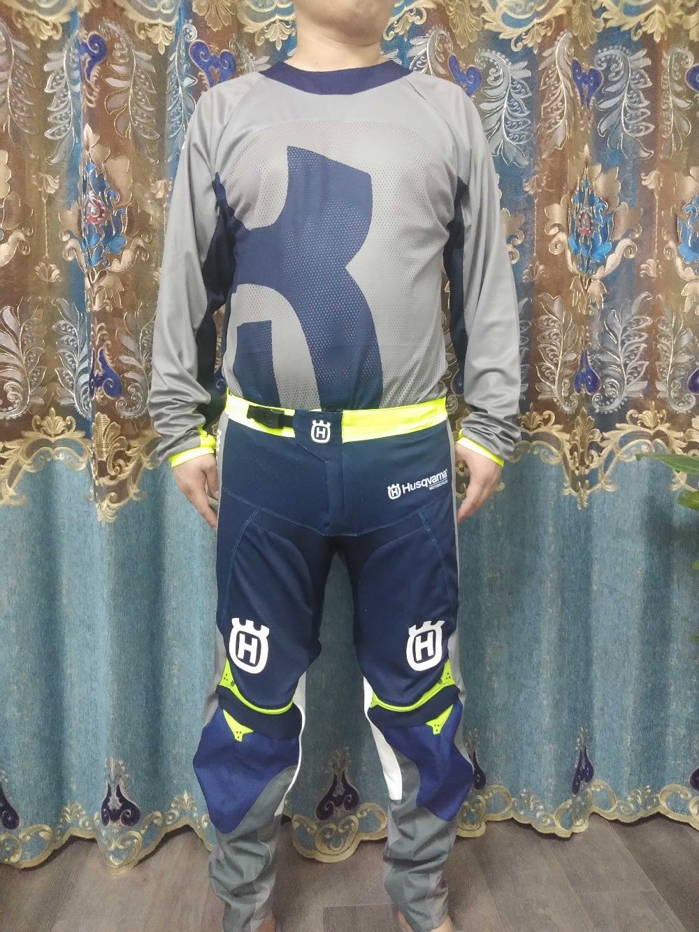 2019 New Gray FOR Husqvarna Husky Style Motocross Suit Motorcycle Racing Jersey Pants combination MX ATV