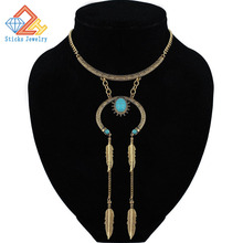 Vintage Bohemia Style Necklace for Women Naturally Stone Feather Tassel Statement Choker Fashion Jewelry