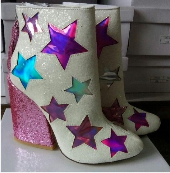 Women ankle boots Autumn boots sequined cloth high chunky shiny heels bling&starts&fringe decoration colorful booties white boot