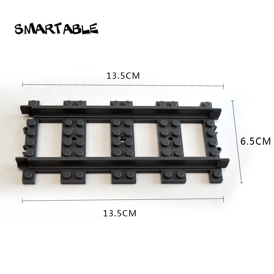 Smartable Train rail Straight Curved Building Blocks brick parts DIY Toys Compatible Legoing city train Toy 100pcs/lot for gift ...