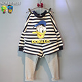 2016 New Girls Clothing Sets Fashion Children Clothing Long-Sleeve Stripe T-shirt Faux 2 Piece Trousers Clothing Set 2016 Spring