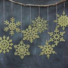 SUNBEAUTY 8pcs DIY Glitter Gold Snowflake Hanging Decoration Christmas Pendant Tree Ornaments Paper Crafts Home Decor