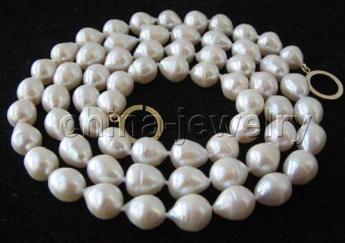 Livraison gratuite> magnifique collier de perles d'eau douce baroque blanc 32
