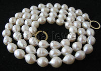 free shipping > Beautiful 32 14mm white baroque freshwater pearl necklace gold filled clasp