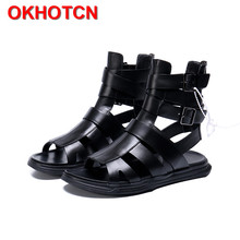 Mens Sandals Gladiator Genuine-Leather Beach-Shoes Black Flat Casual Strap Buckle