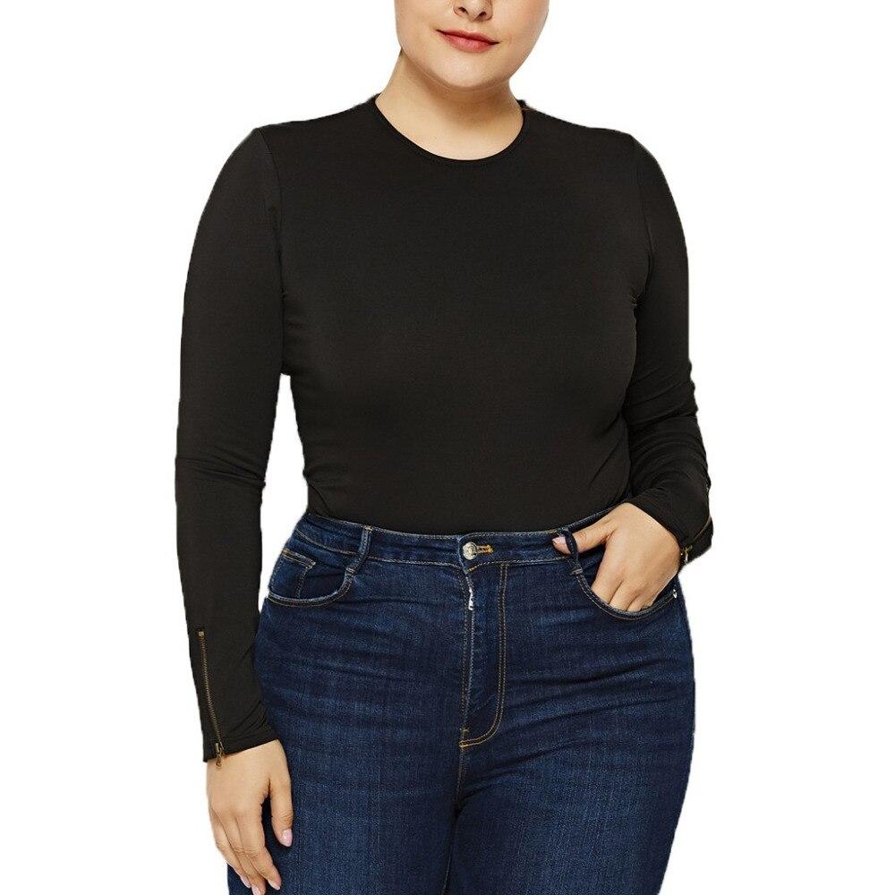 FREE OSTRICH Large size   jumpsuit   fashion ladies solid color round leader zipper long sleeve super plus size comfortable   jumpsuit