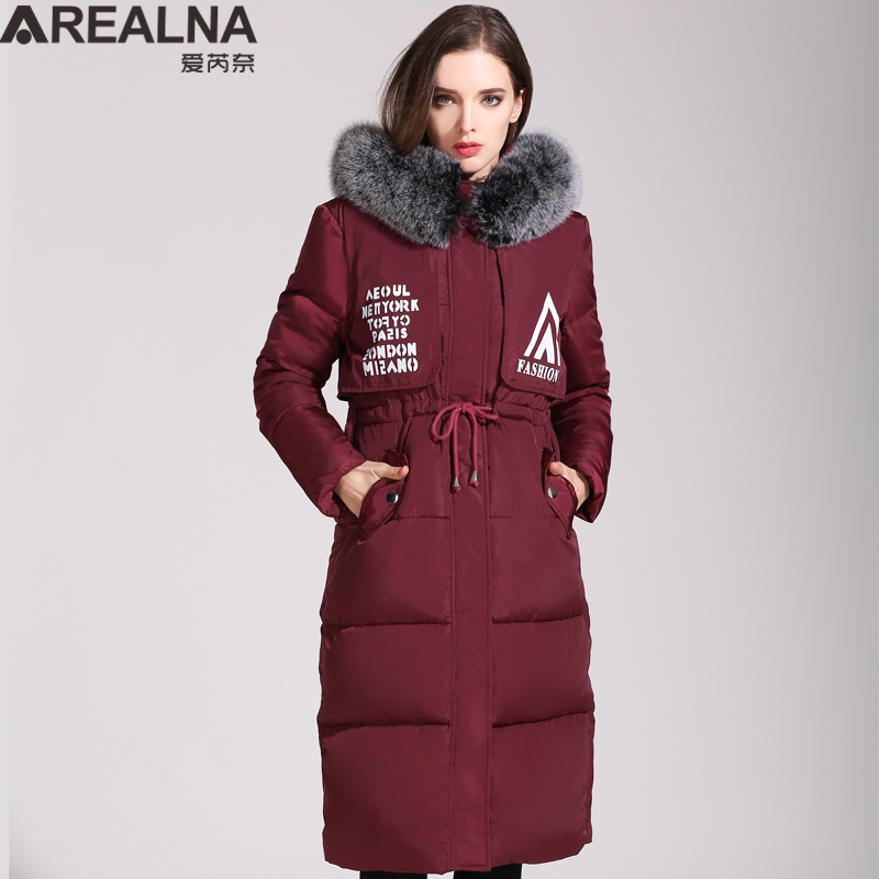 Down Jacket Women with Large Fur Hood Collar 2017 Winter Casual Women's Warm Coat Clothing Plus Size Printed Letter Long Parkas x long woman warm winter down coat camouflage brand really fur collar hood print down jackets with pockets size m 3xl