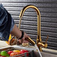 EVERSO Kitchen Faucets Golden Single Handle Pull Out Kitchen Tap Single Hole Handle Swivel 360 Degree