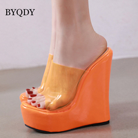 BYQDY Concise High Heels Sandals 2019 Summer Height Increasing Shoes Woman Solid Platform Melissa Sandal Female Jelly Shoes