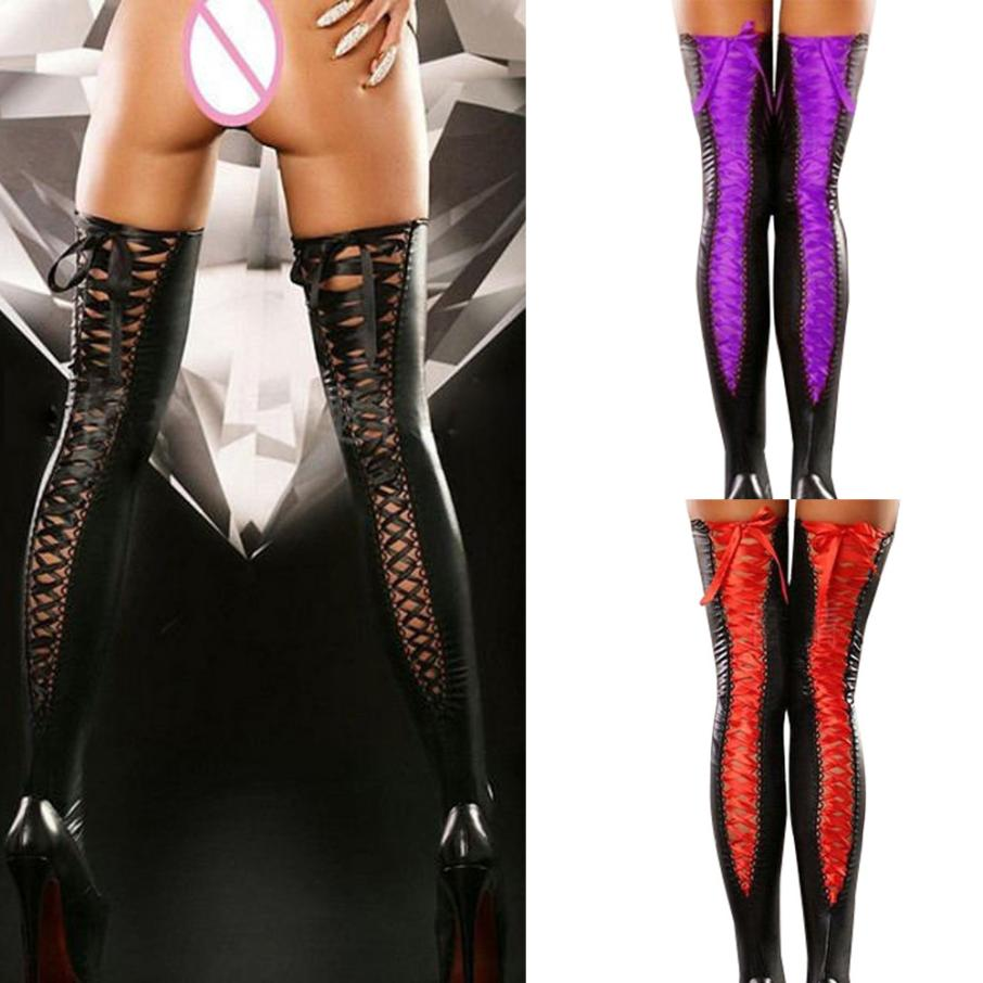 2019 New 6 Color!!1Pair Sexy Club Women Hollow Out Bandages Thigh-high Lace Bow Long Socks Stretch PU Leather Shaping Gift 88cm
