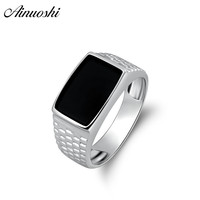 AINOUSHI 925 Sterling Silver Men Wedding Engagement Ring Black Rectangle Cut Male Silver Birthday Party Girl Ring Girls Jewelry
