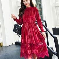 Female Autumn Winter Dress Robe Vintage Red Lace Velvet Dress Women Long Sleeve Stand Pleated Dresses Femme Vestidos