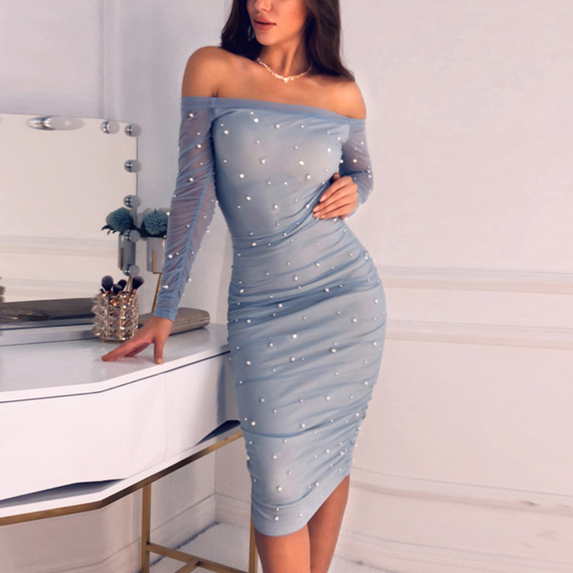 b8e1a619b Women Ruched Mesh Sheer Dress Off Shoulder Beading Pearls Party Bodycon  Dress Mini Sexy Dresses Club