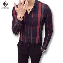 2017 Hombres de Negocios de Primavera Plaid Camisas de Vestir Camisa Masculina de Los Hombres de Moda Casual Delgado Se Adapta Vestido Outwear Camisas Ropa de Hombre