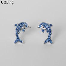 Boucles d'oreilles forme forme dauphin pour femmes, nouveau Design, argent Sterling 2019, cristal bleu, livraison gratuite, 925