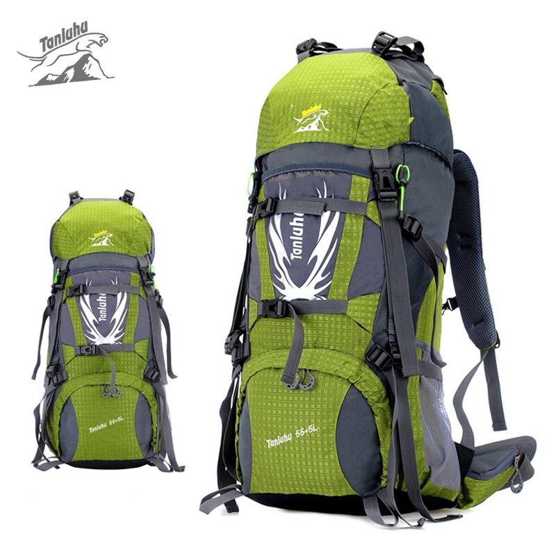 Tanluhu 60L Large Capacity Outdoor Mountaineering Bag for Men Women, Waterproof Travel Hiking Sport Backpack Climbing Bags  e0902 45l large capacity outdoor mountaineering bag multi function waterproof nylon bracket hiking travel backpack
