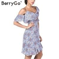 BerryGo Sexy Ruffle Print Dress Women Irregular Sleeve Backless Strap Midi Dress Female Elegant Party Short