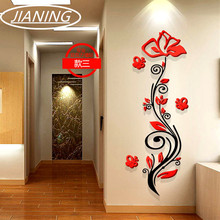 Rose flower entranceway tv background wall modern decoration crystal 3d three-dimensional stickers sofa painting
