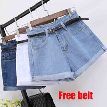 Europe Blue Crimping Denim Shorts For Women 2019 Summer New Casual Short Jeans Womens High Waist