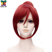 HAIR SW Short Straight Love Live Cosplay Wigs Synthetic hair Wine Red Costume Wig with Bun Heat Resistant