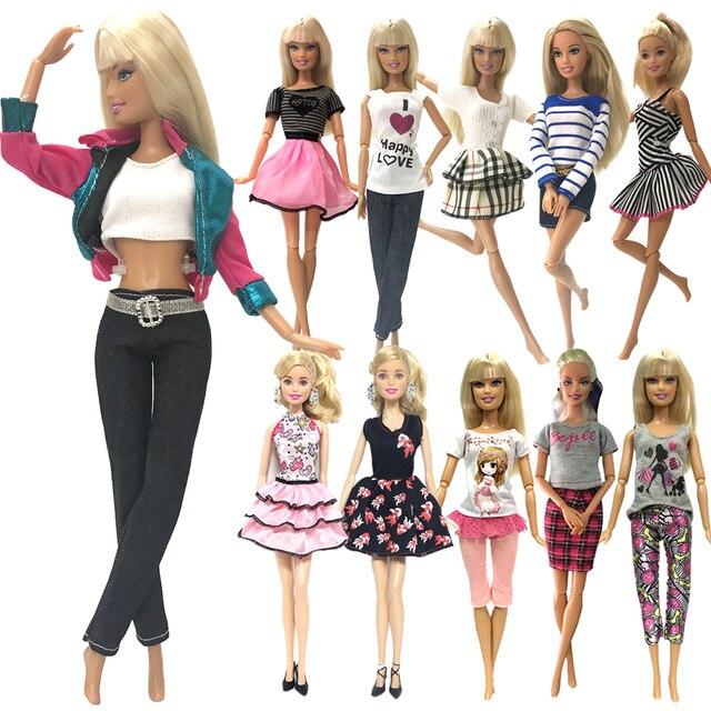 NK Um Conjunto Muitos Estilos De Roupas de Boneca Da Moda Vestido de Lazer Moda Vestido de Festa Saia Para Barbie Doll Girl Melhor presente 02 JJXQ