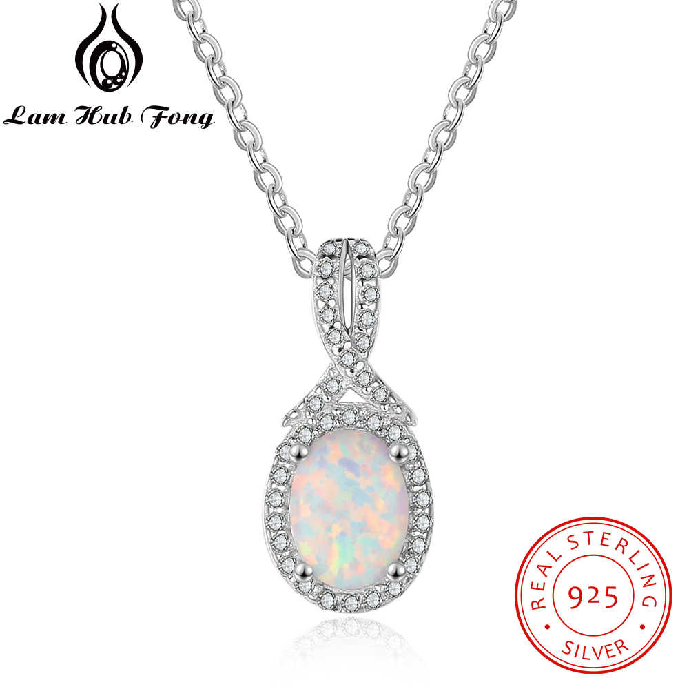 Luxury 925 Sterling Silver Pendant Necklace Cubic Zirconia Paved Oval Opal Necklace Jewelry Mother's Day Gift (Lam Hub Fong)