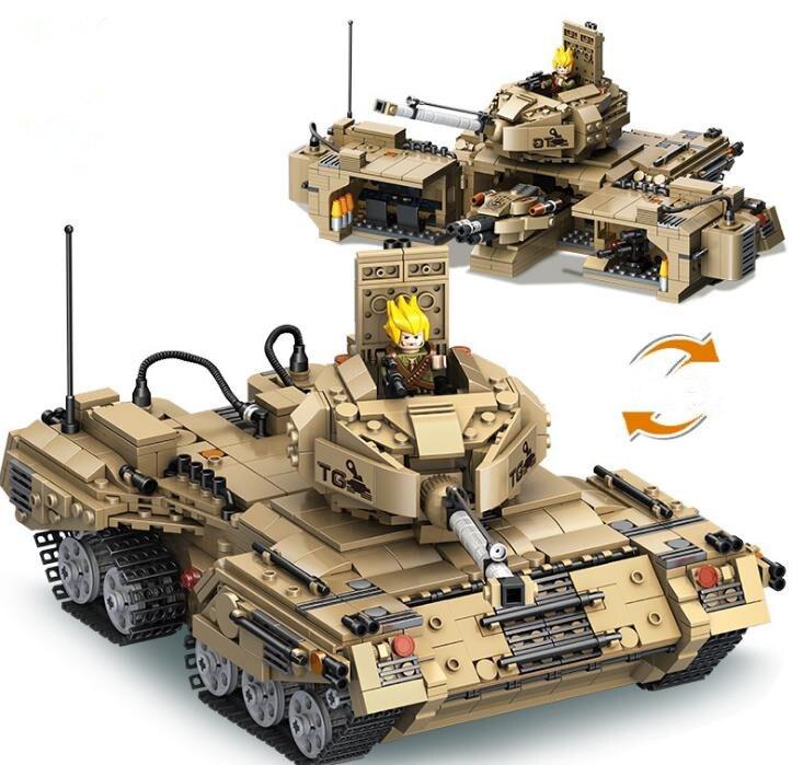 1435 pièces 2 en 1 déformation militaire réservoir Legoings blocs de construction Kit jouets enfants anniversaire cadeaux de noël