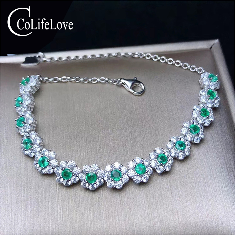 CoLifeLove Fashion Silver Emerald Bracelet for Office Woman 15 Pieces Natural Emerald Silver Bracelet 925 Silver Emerald JewelryCoLifeLove Fashion Silver Emerald Bracelet for Office Woman 15 Pieces Natural Emerald Silver Bracelet 925 Silver Emerald Jewelry