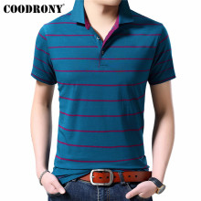 COODRONY Business Casual T Shirt Men Clothing 2019 Spring Summer Short Sleeve T-Shirt Striped Turn-down Collar Tshirt S95117