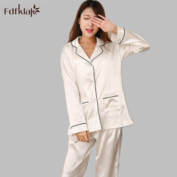 2017 New Brand Satin Pyjamas Women Long Sleeve   Pajamas     Set   Pyjama Femme Spring Autumn Ladies Pijamas Homewear White/Blue E1210