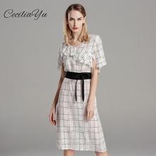 Women Dress 2019 Spring And Summer New Geometric Stitching 100% Silk Waist Temperament Slim Ceciliayu