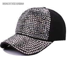 2019 New Brand Rhinestone Baseball Caps For Men Women Adjustable Cotton Cap Fashion Crystal Hip Hop Snapbacks Hats High Quality