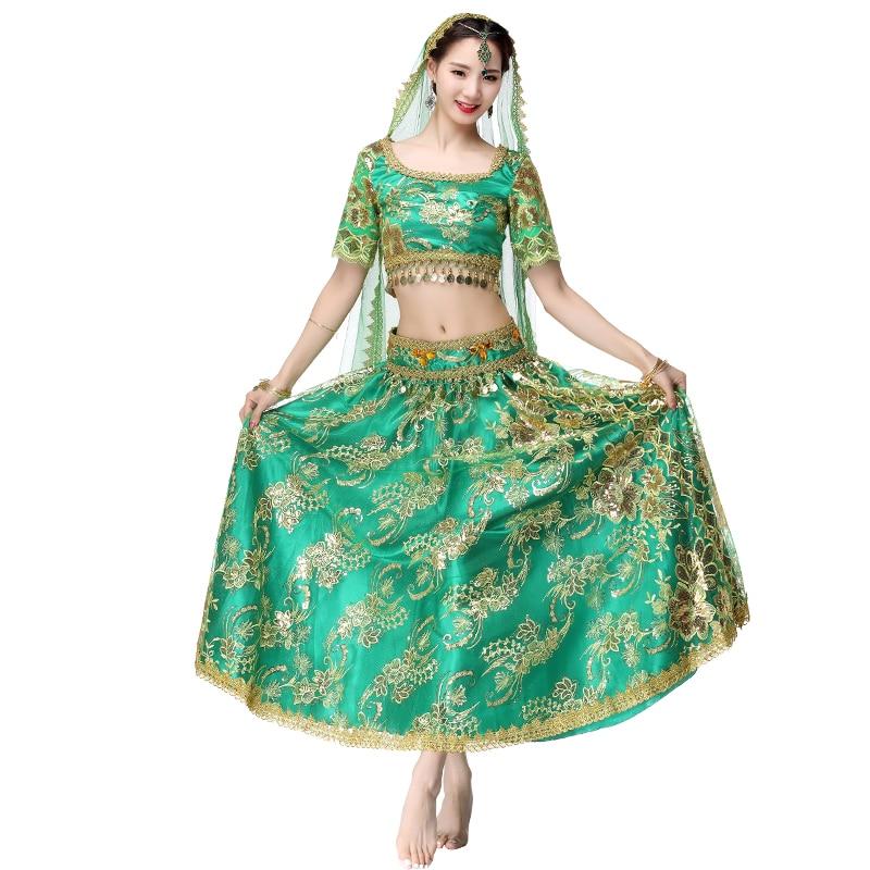 Indien professionnel danse du ventre Costumes 4 pcs haut + jupe + Blet + Sari femmes danse du ventre tenues Organza brodé pièces Bollywoo