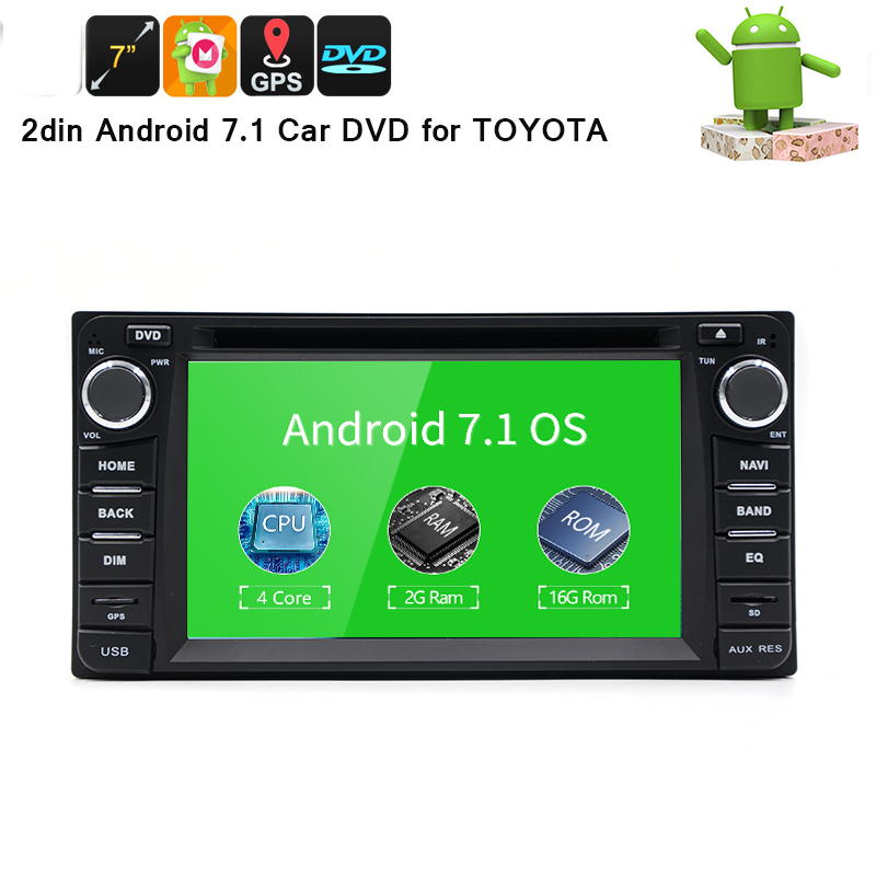 <font><b>2din</b></font> <font><b>Android</b></font> 7.1 8 Core <font><b>2G</b></font> <font><b>RAM</b></font> car dvd player for Toyota Hilux VIOS Old Camry Prado RAV4 Prado 2003-2008 car stereo radio image