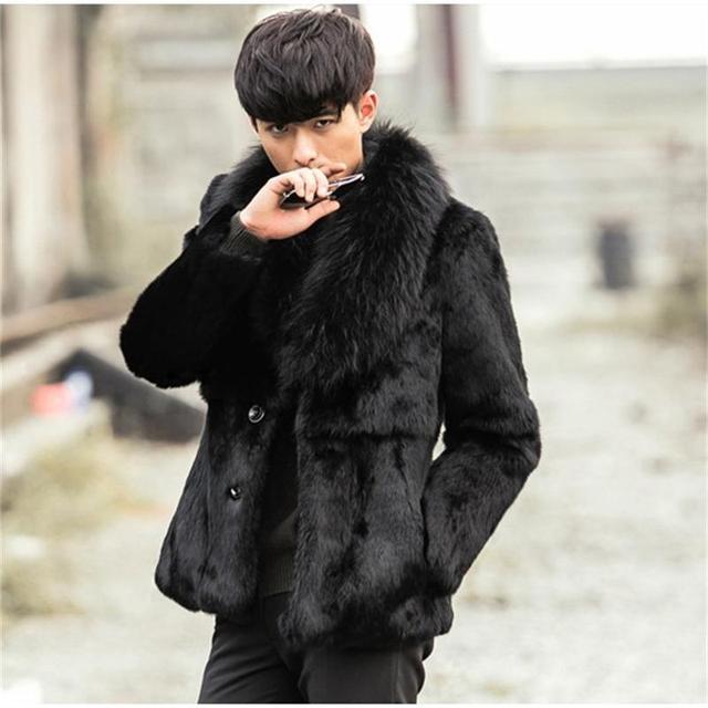 New Winter Warm Fur Coats2016 Men Faux Rabbit Fur Jackets Fashion Leisure Black Overcoats Male Faux Fox Fur Collar Leather Cloth