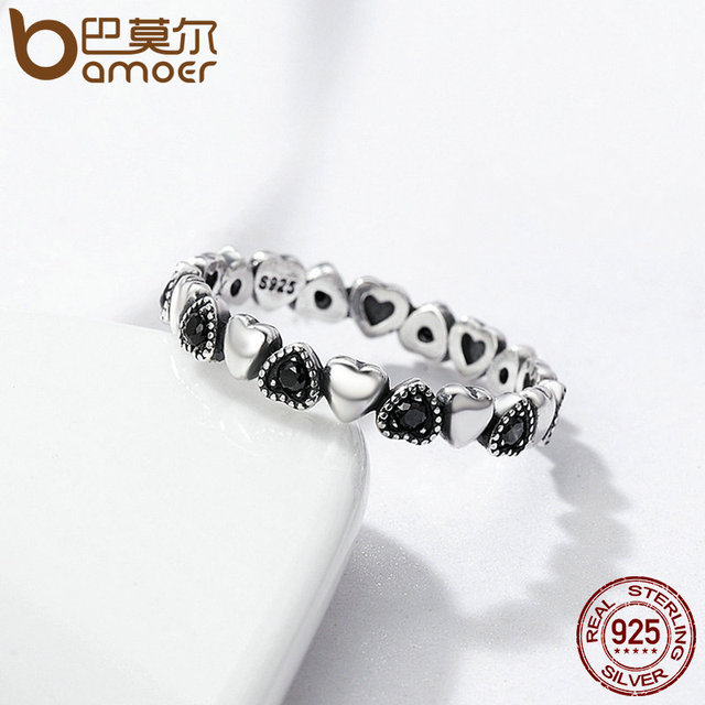 BAMOER Genuine 925 Sterling Silver Stackable Ring Heart Black CZ Finger Rings Wedding Anniversary Jewelry 4